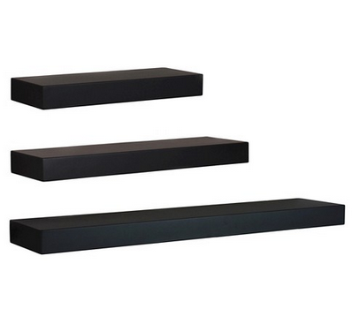 black shelves